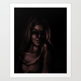 Digital painting of mysterious girl Art Print