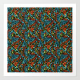 Red and Blue Abstract Art Print