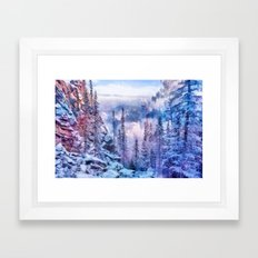 Winter forest in the mountains II Framed Art Print