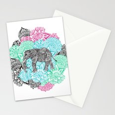 Boho paisley elephant handdrawn pastel floral Stationery Cards