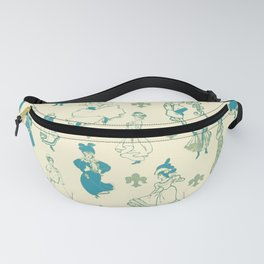 Vintage Ladies BLUE BEIGE / 18th and 19th century illustrations of women Fanny Pack