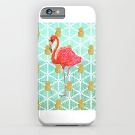 Illustrated Pink Flamingo and Gold Pineapple Design iPhone Case