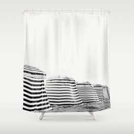 Beach Stripes - Minimalist Black and White Photography Shower Curtain
