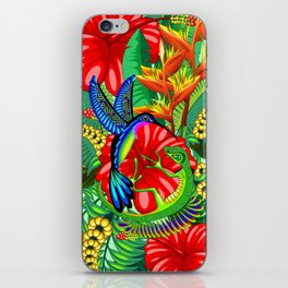 The Lizard, The Hummingbird and The Hibiscus iPhone Skin