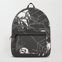 Halloween Trees with Ghosts and spider web - grey Backpack