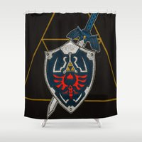 agents of shield Shower Curtains featuring Shield  by Jennifer Dillon