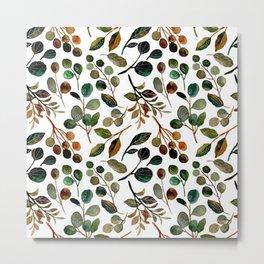 Leaves, Watercolor Abstract Painting, Digital Art Metal Print