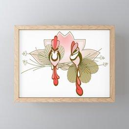 Birds Watching, Flowers & Feathers Framed Mini Art Print