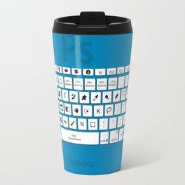 Photoshop Keyboard Shortcuts Blue Travel Mug