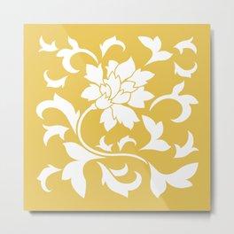 Oriental Flower - Mustard Yellow Metal Print
