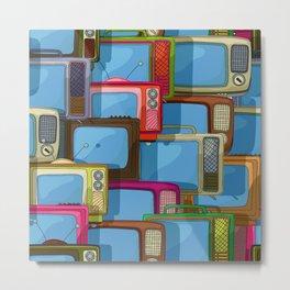 Tv set pattern Metal Print