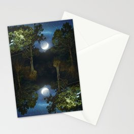Moonset in coniferous forest Stationery Cards