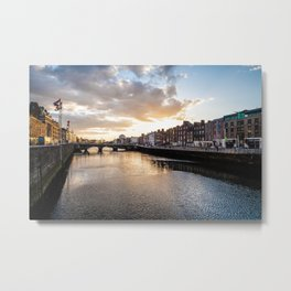 Dublin,  Liffey River at Sunset Metal Print