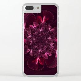 Flower In Bordo Clear iPhone Case