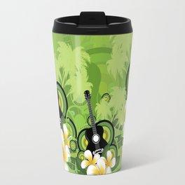 Plumeria flowers and black guitar Travel Mug
