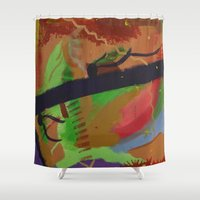 pain Shower Curtains featuring Pain by ErikMcManusInc.