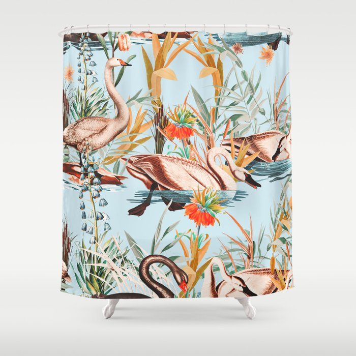 Swan floating in lake Shower Curtain