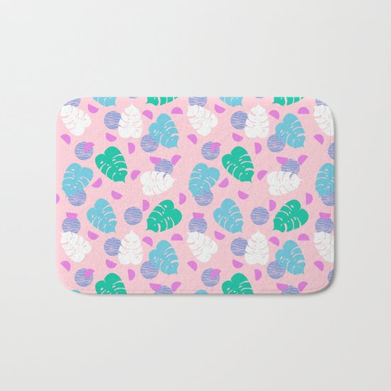 Monstera leaf house plant abstract modern print neon pink pastel summer vacation palm springs  Bath Mat