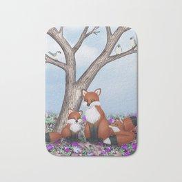 fox, cubs and tufted titmice Bath Mat