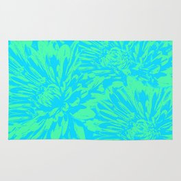Ocean Blue Floral Abstract Rug