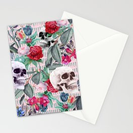 Flowers and Skulls (Pink) Stationery Cards