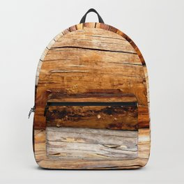 Wooden Log Wall Of A Vintage Cabin Backpack