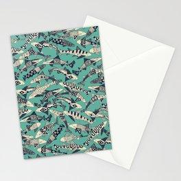 shark party jade Stationery Cards