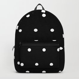 Black Background With White Polka Dots Pattern Backpack
