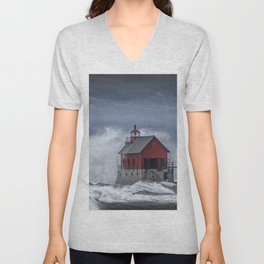 Grand Haven Lighthouse in a November Storm on Lake Michigan Unisex V-Neck