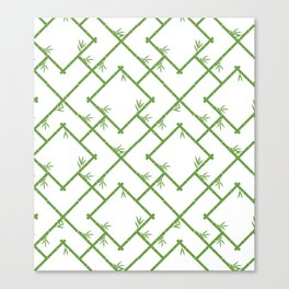 Bamboo Chinoiserie Lattice in White + Green Canvas Print