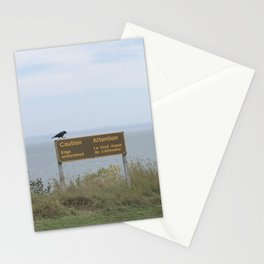 Caution (American black crow on caution sign) Stationery Cards