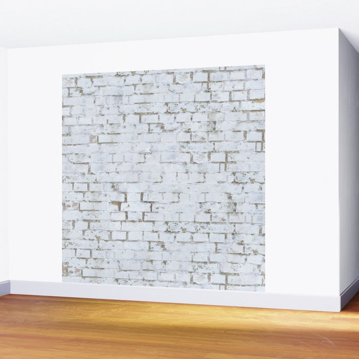 Vintage White Brick Wall Wall Mural by patternmaker Society6