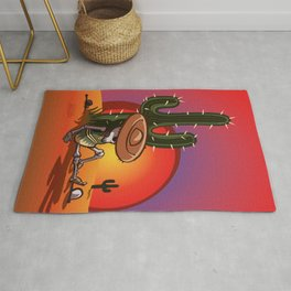 Cactus and skeleton in Sunset Rug