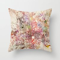 minneapolis Throw Pillows featuring Minneapolis by MapMapMaps.Watercolors
