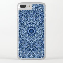 Sacred Blue Garden Mandala Clear iPhone Case