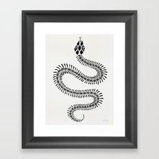 Snake Skeleton – Black Ink Framed Art Print