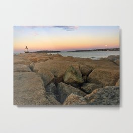 Wolf Moon Rising at Spring Point Ledge Lighthouse in South Portland, Maine Metal Print