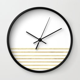 White and Gold Stripes Wall Clock