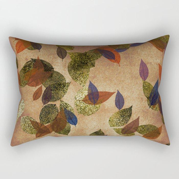 Autumn-world 3 - gold glitter leaves on dark backround Rectangular Pillow