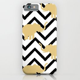 elephant gold silhouette on abstract black chevron iPhone Case