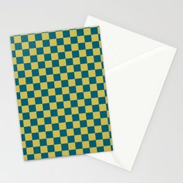 Dark Yellow and Tropical Dark Teal Inspired by Sherwin Williams 2020 Trending Color Oceanside SW6496 Small Checker Board Pattern Stationery Cards