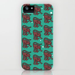 loony monkey pattern (red) iPhone Case