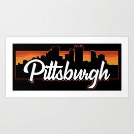 Vintage Pittsburgh Pennsylvania Sunset Skyline T-Shirt Art Print
