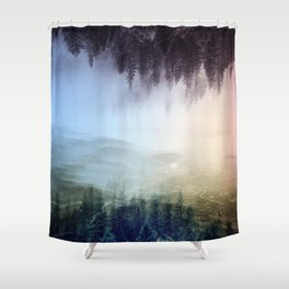 flipped forest Shower Curtain