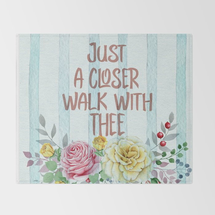 Vintage Hymn Inspiration: Just A Closer Walk with Thee Throw Blanket