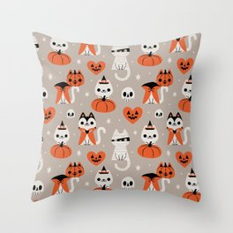 Halloween Kitties (Gray) Throw Pillow
