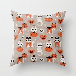 Halloween Kitties (Gray) Throw Pillow