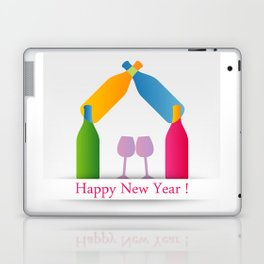 New year greetings with House formed with many colorful bottles and glasses Laptop & iPad Skin