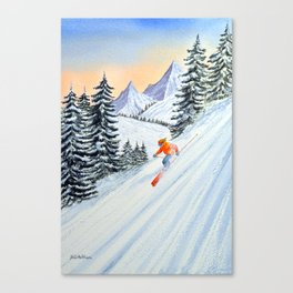 Skiing - The Clear Lady Leader Canvas Print