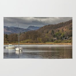 Windermere lakes and boats landscape Rug